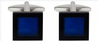 Dalaco 90-1341 Blue Cats Eye Black Surround Square Cufflinks